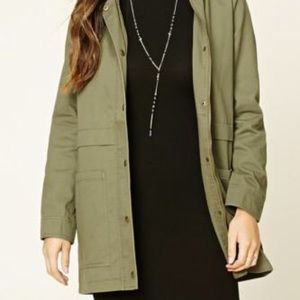 Forever 21 long utility jacket with hood (SZ:L)